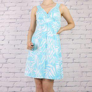 Tommy Bahama blue white leaf print dress c1